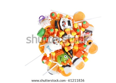 top view assorted Halloween candy - stock photo