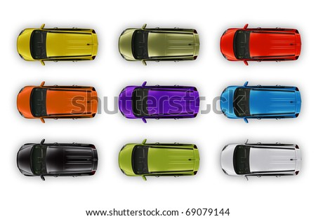 Top view automobiles package isolated on white - stock photo