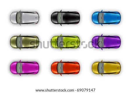 Top view automobiles set isolated on white - stock photo