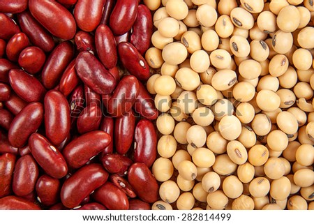 Top view background of different varieties of beans: red kidney beans, soybeans - stock photo