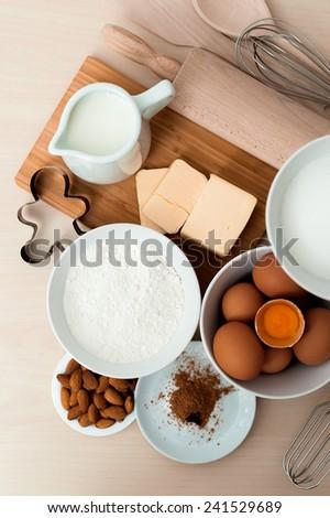 Top view bake ingredients - stock photo