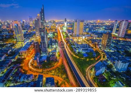 Top view Bangkok City at night,Thailand ,2 JUNE 2015 - stock photo