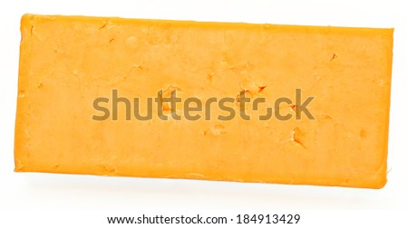 Top View Block of Cheddar Cheese Over White - stock photo