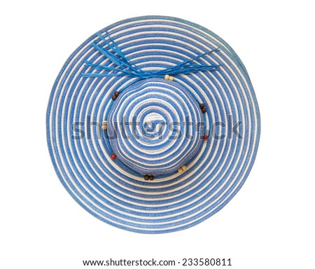 Top view blue floppy hat isolated on white background - stock photo