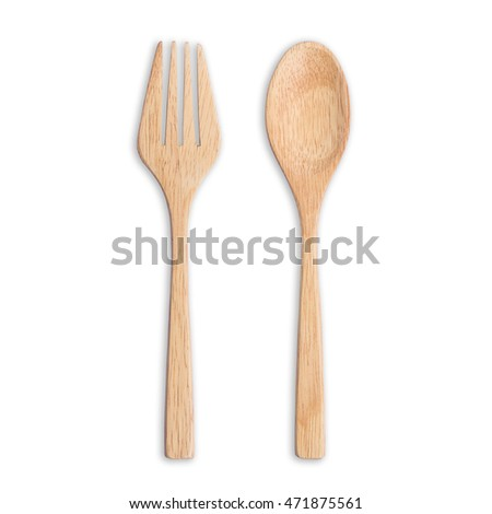 Top view bright wooden spoon and fork isolated on white background. Saved with clipping path