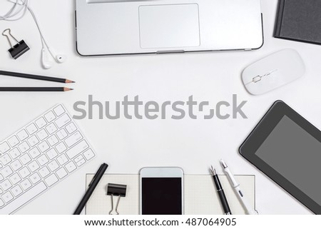 Top view business desk with office object, flat layout display for background.