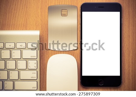 Top view business online payment,copy-space,mobile isolated on white background - stock photo