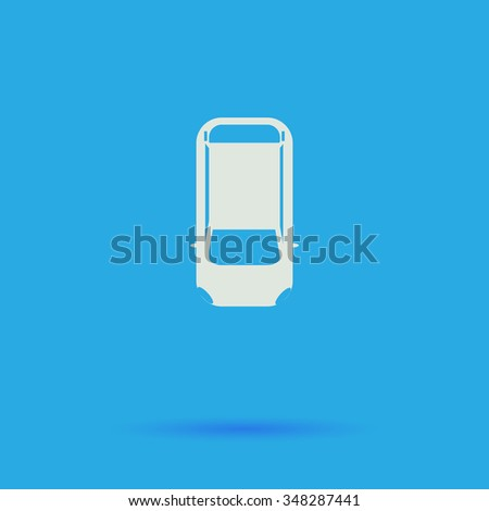 top view car White flat simple pictogram on blue background with shadow  - stock photo