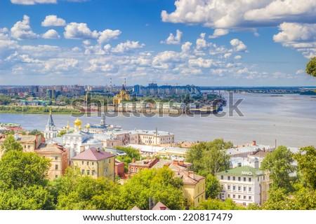 Top view  center  Nizhny Novgorod  confluence  rivers Volga Oka attractions - stock photo
