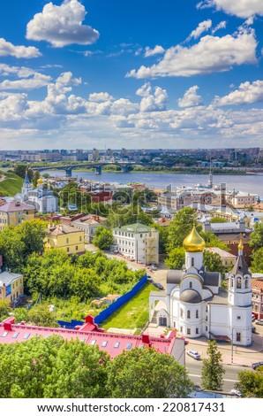 Top view  center  Nizhny Novgorod  confluence  rivers Volga Oka attractions Church  Kazan icon  Mother of God - stock photo