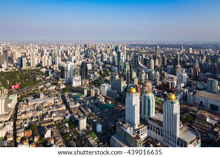 Top view, Central Business downtown skyline, Bangkok Thailand - stock photo