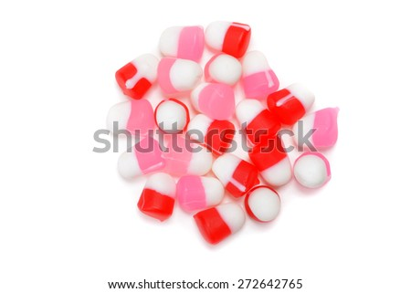top view chewy valentines candy - stock photo