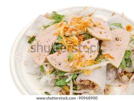 Top view: chop meat in rice rolls with fried garlic - stock photo
