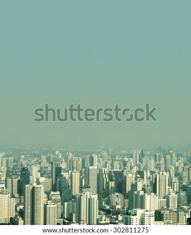 Top view city at Bangkok in Thailand - stock photo