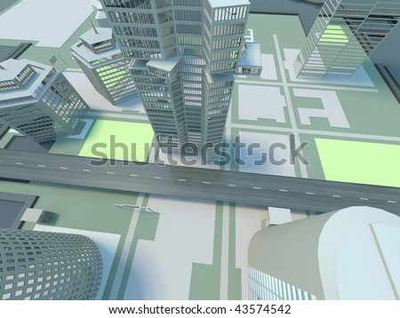 top view city - background - stock photo