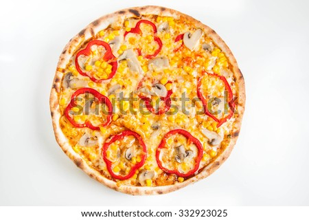 Top view Close up Hot Vegetarian pizza with mushrooms, bell pepper and sweet corn on the wooden board isolated - stock photo