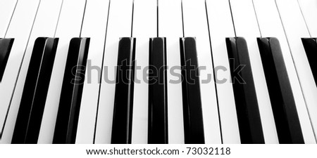 Top view close up shot of piano keyboard