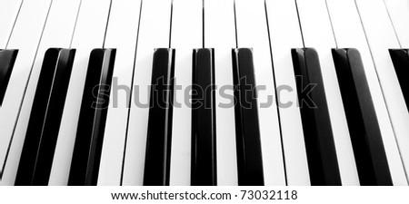Top view close up shot of piano keyboard - stock photo