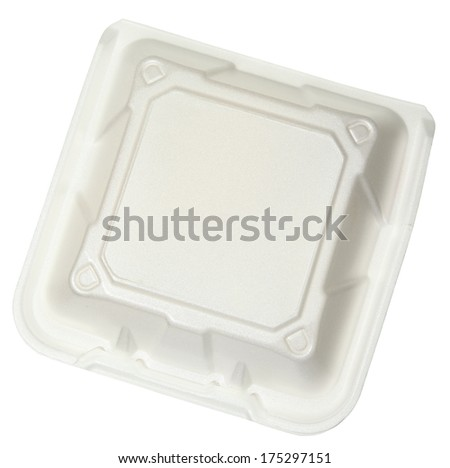 Top View Closed Styrofoam Food Container isolated over white. - stock photo