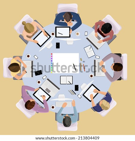 Top view concept of business meeting brainstorming professional people on the table  illustration - stock photo