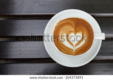 Top view cup of coffee latte - stock photo
