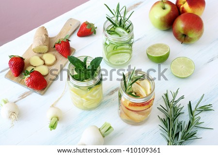 top view Detox fruit infused flavored water - stock photo