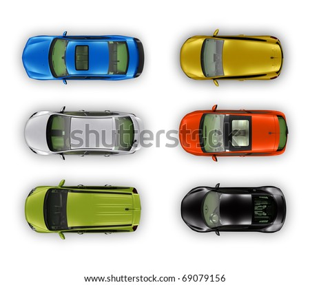 Top view different automobiles set isolated on white - stock photo