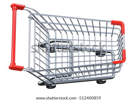 Top view empty artoon shopping cart. 3D render isolated on white background