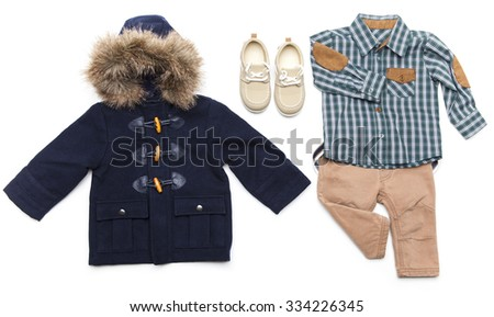 Top view fashion trendy look of kids clothes. Kids fashion  - stock photo