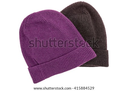 Top view flat lay hipster beanie set isolated white background