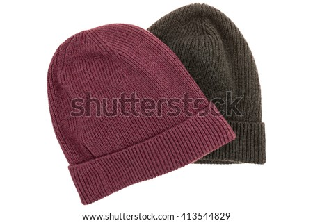 Top view flat lay template of hipster beanie set isolated white background