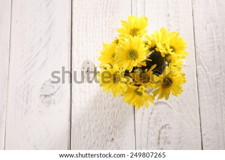 top view flower  arranged with mini watering can - stock photo