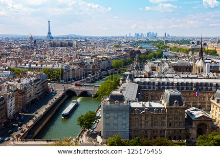 Top view from Cathedral Notre Dame on river Seine and bridges. - stock photo