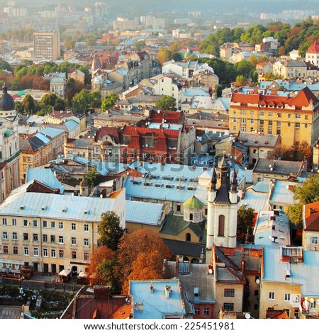 Top view from City Tower, Lviv, Ukraine.