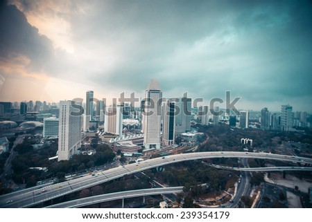 Top view from singapore flyer in day time, HDR photo - stock photo