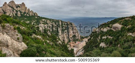 Top View from the montain, the Monastery of Montserrat in Catalonia, near Barcelona