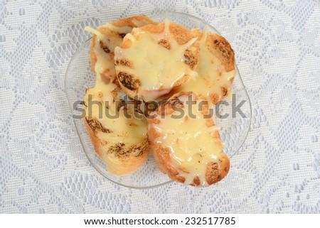 top view garlic cheese bread - stock photo