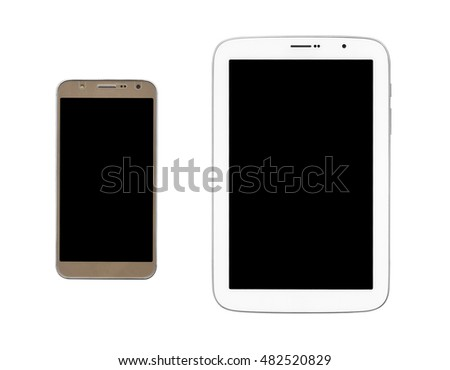 top view gold smartphone and white tablet black display on white background, isolated