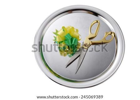 top view green yellow ribbon bows - stock photo