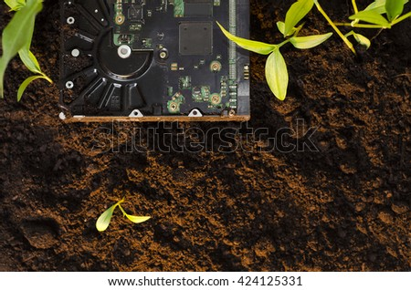 Top view, hard disk laying on the ground on dirt next to a plants, copy space. Ecology and technology concept/e-waste, technology becoming natural - stock photo