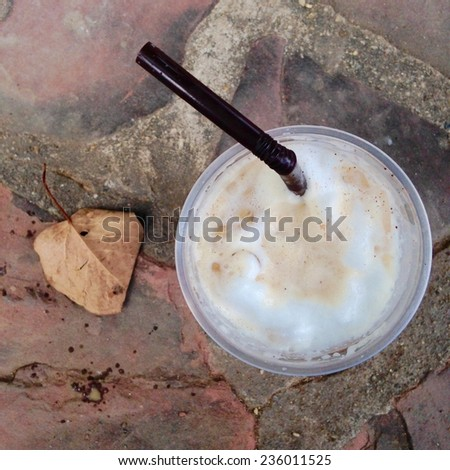 top view ice coffee - stock photo
