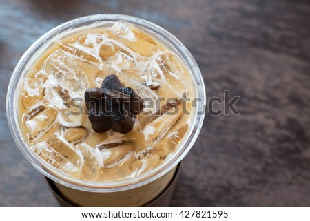 Top view ice coffee with milk - stock photo