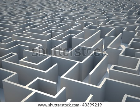 Top view illustration of a conceptual maze - 3d render