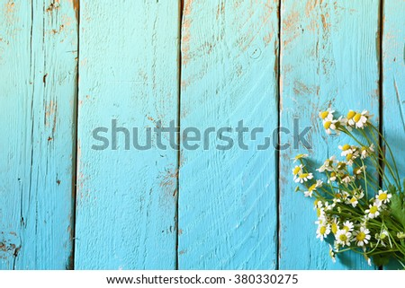 top view image of daisy flowers on blue wooden table. vintage filtered  - stock photo