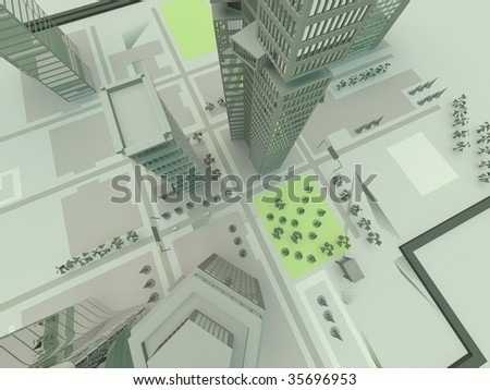 top view in the city - stock photo