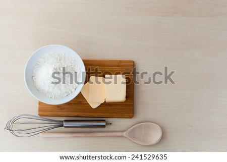 top view ingredients to bake - stock photo