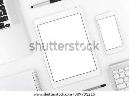 Top view: Laptop tablet and smartphone on white table background with text space and copy space. - stock photo