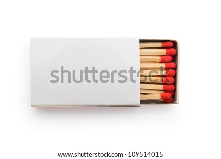 top view matchbox on white - stock photo