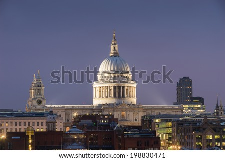 Top view, Millennium bridge and St. Paul's cathedral, London