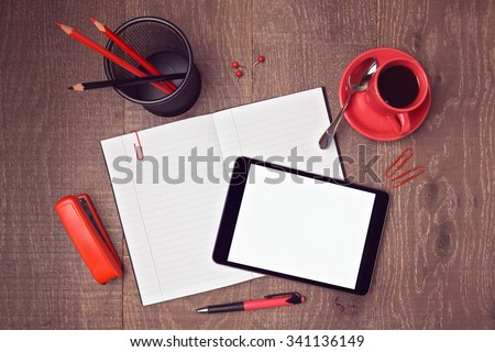 Top view mock up template of office desk with digital tablet and notebook. Hero header image
